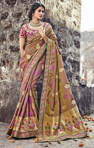 Designer Wedding Wear Brown & Purple Banarasi Silk Saree