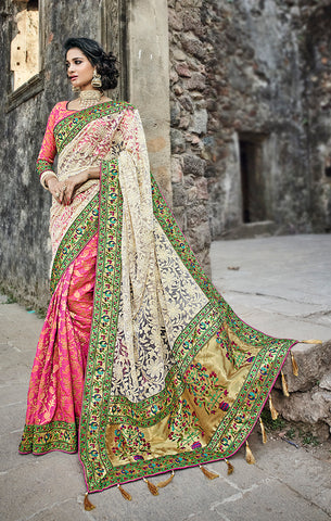 Designer Wedding Wear White & Pink Net Silk Saree