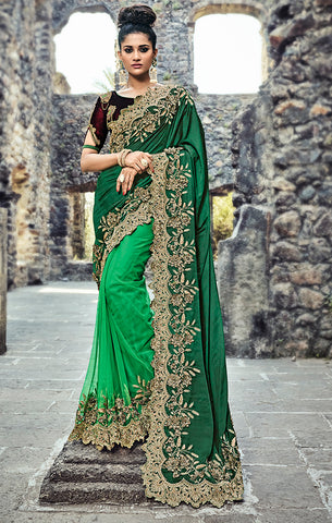 Designer Wedding Wear Green & Wine Satin and Net Saree