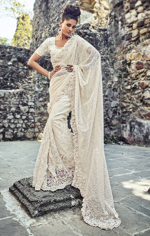 Buy Designer Wedding Wear Pearl White Digital Net Saree Online  at Takshaya