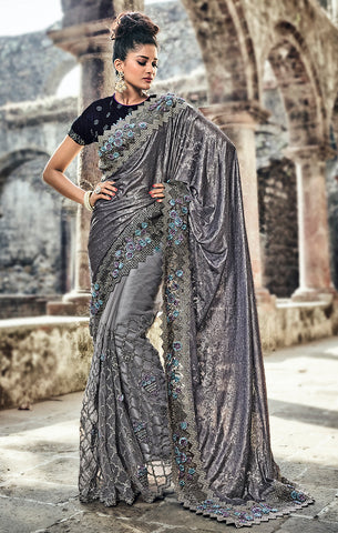 Designer Wedding Wear Glittering Grey & Navy Blue Digital Net Saree
