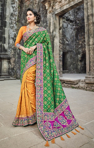 Designer Wedding Wear Yellow & Green Banarasi Silk Saree