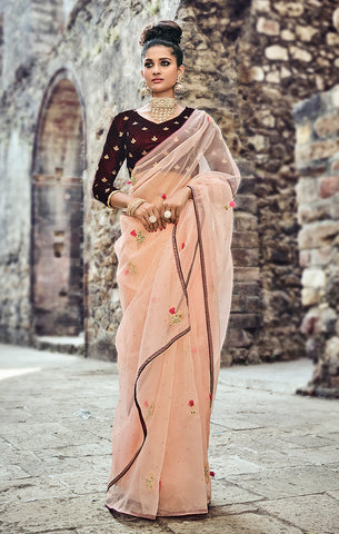 Designer Wedding Wear Soft Peach & Wine Silk Saree