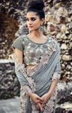 Designer Wedding Wear Grey Shimmer Digital Net Saree