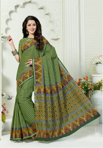 Designer Casual Wear Printed Green Cotton Saree By Takshaya