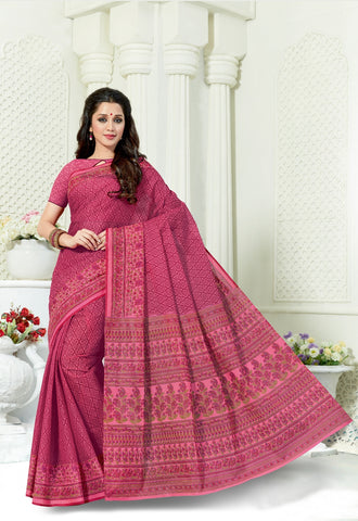 Designer Casual Wear Printed Pink Cotton Saree By Takshaya