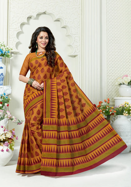 Designer Casual Wear Printed Mustard Cotton Saree By Takshaya