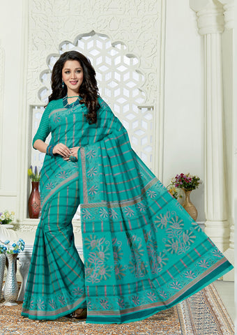 Designer Casual Wear Printed Aqua Green Cotton Saree By Takshaya