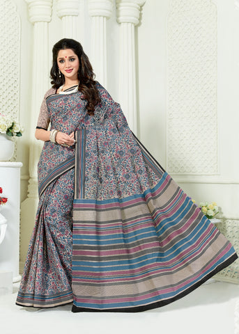 Designer Casual Wear Printed Grey Cotton Saree By Takshaya