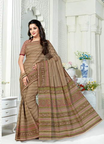 Designer Casual Wear Printed Dark Beige Cotton Saree By Takshaya