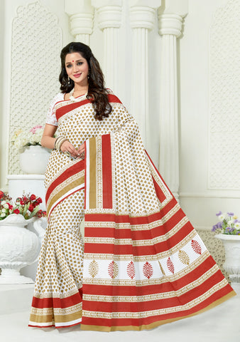Designer Casual Wear Printed White Cotton Saree By Takshaya