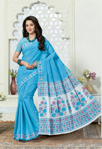 Designer Casual Wear Printed Sky Blue Cotton Saree By Takshaya