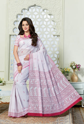 Designer Casual Wear Printed Off White Cotton Saree By Takshaya