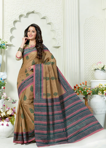 Designer Casual Wear Printed Brown Cotton Saree By Takshaya