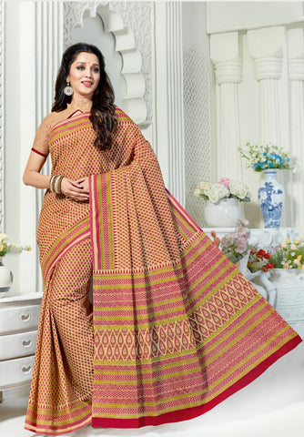 Designer Casual Wear Printed Beige Cotton Saree By Takshaya