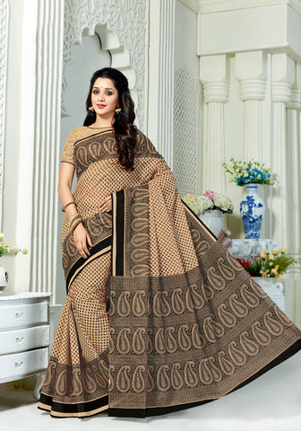 Designer Casual Wear Printed Black & Beige Cotton Saree By Takshaya