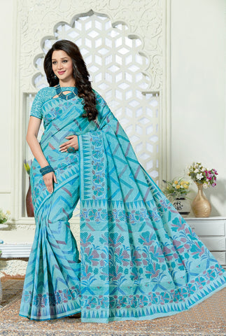 Designer Casual Wear Printed Blue Cotton Saree By Takshaya