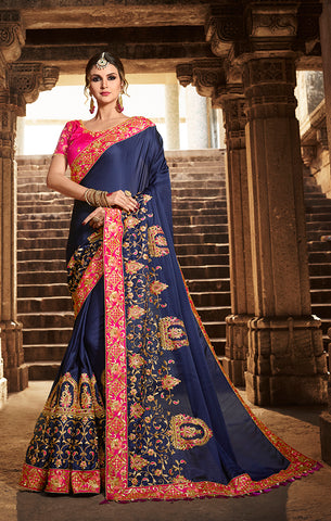Designer Navy Blue Art Silk Embroidered Saree