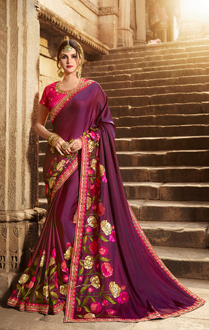 Designer Purple Art Silk Embroidered Saree