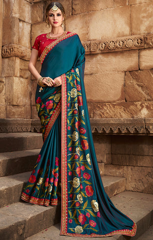 Designer Teal Blue Art Silk Embroidered Saree