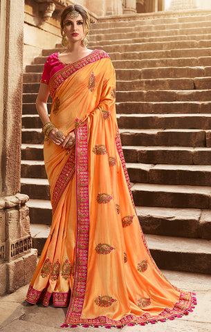 Designer Peach Art Silk Embroidered Saree