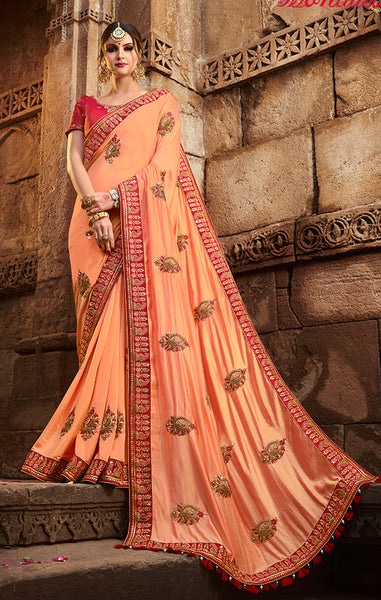 Designer Orange Art Silk Embroidered Saree