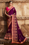 Designer Dark Purple Art Silk Embroidered Saree