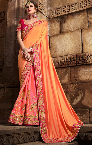 Designer Peach & Pink Art Silk Embroidered Saree