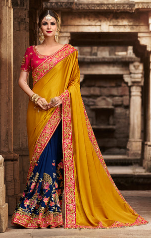 Designer Mustard & Blue Art Silk Embroidered Saree