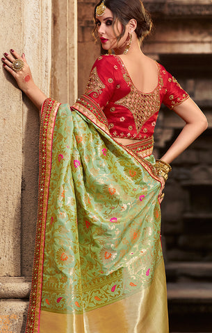Designer Wedding Wear Pista Green Banarasi Silk Saree