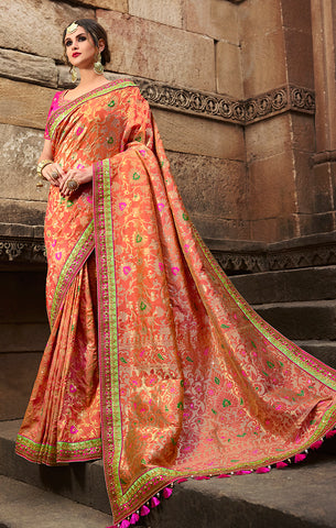 Designer Wedding Wear Peach Banarasi Silk Saree