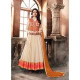 Designer Party Wear Semi- Stitched Off white Silk Jacket Style Anarkali Suit By Takshaya