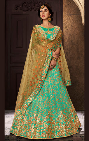 Designer Wedding Wear Sea Green & Beige Silk Unstitched Lehenga Choli