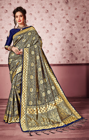 Takshaya Partywear Blue Art Silk Saree