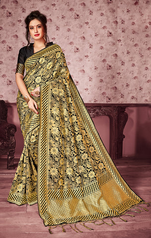 Takshaya Partywear Black Art Silk Saree