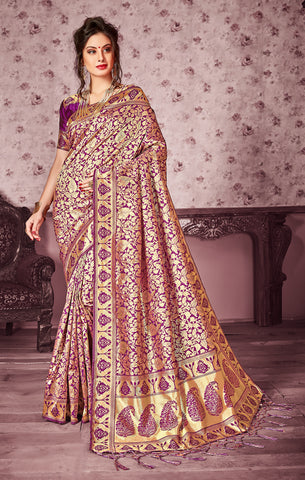 Takshaya Partywear Purple Art Silk Saree