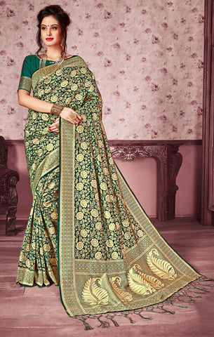 Takshaya Partywear Green Art Silk Saree