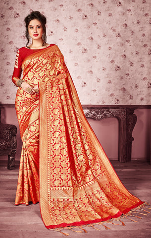 Takshaya Partywear Red Art Silk Saree