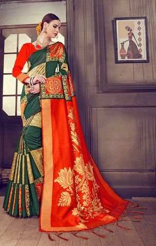 Takshaya Partywear Green Art Silk Weaving Saree