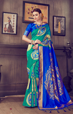 Takshaya Partywear Teal Art Silk Weaving Saree