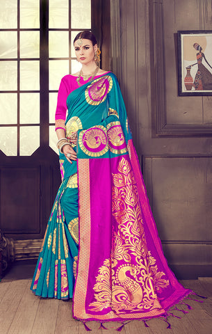 Takshaya Partywear Turquoise Blue Art Silk Weaving Saree