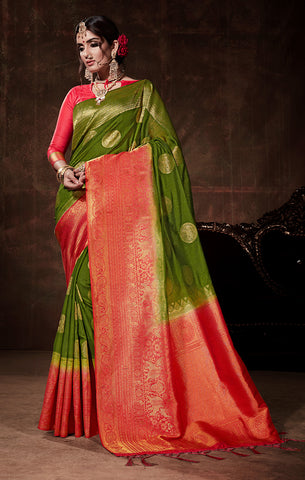 Takshaya Partywear Green & Pink Nylon Silk Weaving Saree