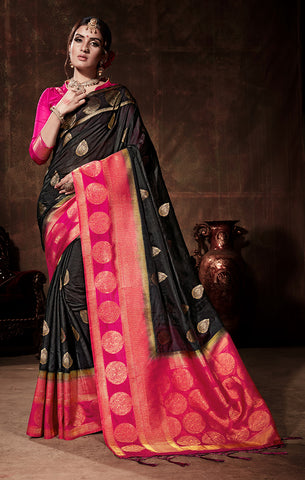 Takshaya Partywear Black & Pink Nylon Silk Weaving Saree