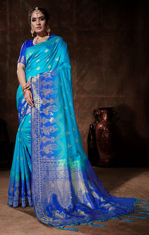 Takshaya Partywear Sky Blue & Blue Nylon Silk Weaving Saree