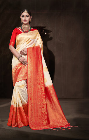 Takshaya Partywear Off White & Red Nylon Silk Weaving Saree