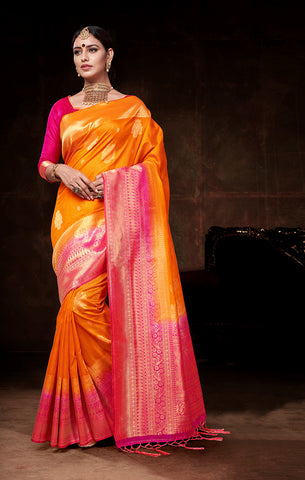 Takshaya Partywear Orange & Pink Nylon Silk  Weaving Saree