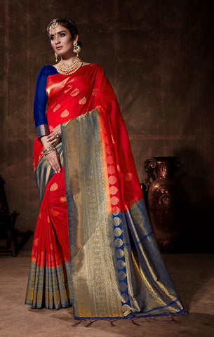 Takshaya Partywear Red & Blue Nylon Silk Weaving Saree