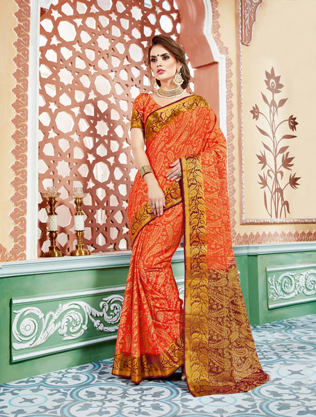 Designer Partywear Tussaar Jacquard Brasso Orange Colour Saree By Takshaya