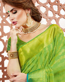 Designer Partywear Tussar Jacquard Brasso Light Green Colour Saree By Takshaya