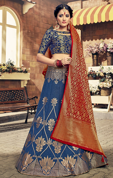 Takshaya Wedding Wear Blue Banarasi Silk Lehenga Choli